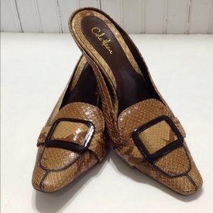 Cole Haan leather snakeskin print mule heels 7.5